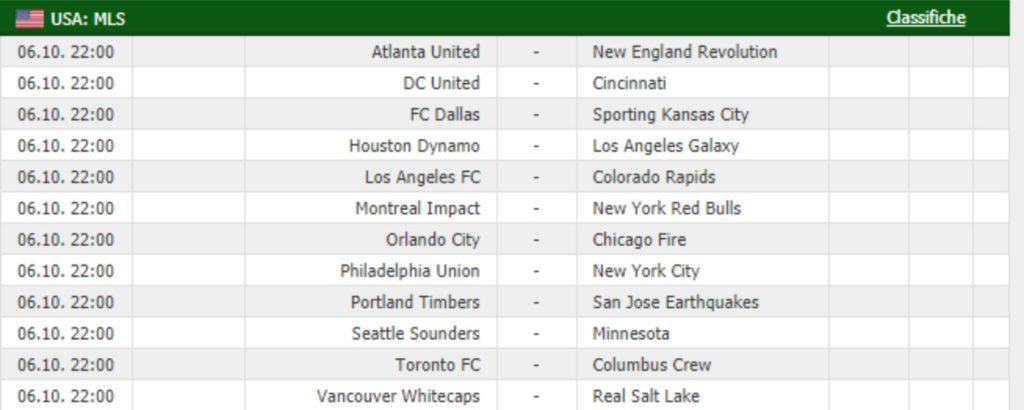 Calendario partite MLS